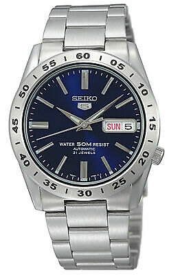 Seiko Stainless Steel Bracelet Blue Dial Analog Silver Tone Men's Watch SNKD99K1