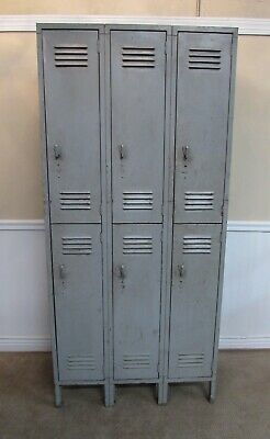 Vintage Lyon Metal Locker Set Double Tier 3 Wide