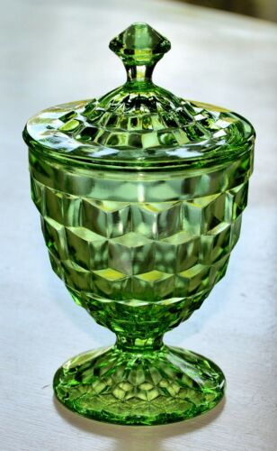 """GREEN CUBE CUBIST JEANNETTE CANDY DISH WITH LID DEPRESSION GLASS VINTAGE 6.5"""""""