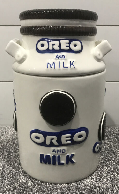 "VTG? Oreo Milk Canister Container Ceramic Cookie Jar Houston Harvest 9.5"""