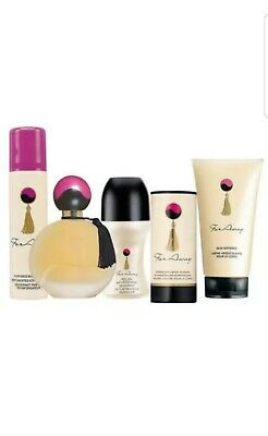 AVON FAR AWAY 5PC SET EDP PERFUME BODY LOTION,  BODY SPRAY, Roll on, and Powder.