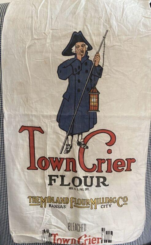 Vtg Town Crier Flour Sack Grain Sack By Midland Flour Milling City Co - 49#