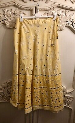 Juliet Dunn Yellow Tie Dye Ombre Sequin Embellished Boho Gypsy Maxi Skirt 10-14