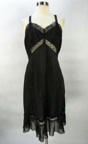 Vintage Charmode Black Nylon Accordion Pleat Full Slip 38 Short Lace Wide Hem