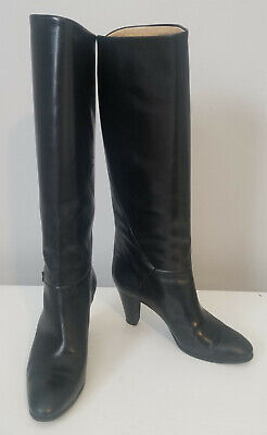 Vintage GUCCI Black Leather Knee High Boots Size 37 EUC w/orig box Made in Italy