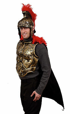 Gold Spartan Armor Front W Attached Black Cape Greek Armor Crusades - Greek Spartan Armor