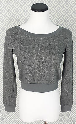 Womens Wet Seal Gray Cropper Sweatshirt Sexy Party Crop Top Size Xs Xsmall Show
