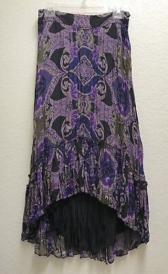 INC International Concepts Black Fully Lined Gypsy Boho Crinkle Maxi Skirt 6 - Crinkle Fully Lined Skirt