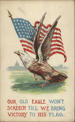 Bernhardt Wall WWI Propaganda American Eagle Holding Flag in Talons PC