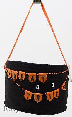 Halloween Black & Orange Trick or Treat Bucket Basket 6x9x10 NWT