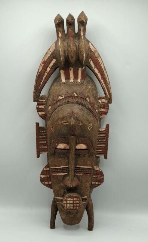 West African Vtg Tribal Coast Senufo Mask Wall Decore /b