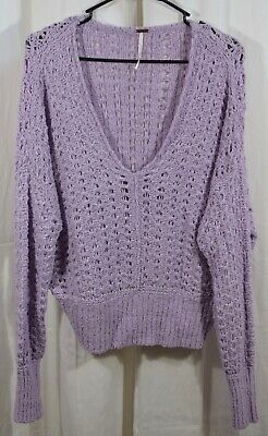 Free People Women's Best of You V Neck Sweater Purple Size
