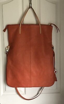 Varriale extra large LAMB LEATHER Fold Over orange Tote
