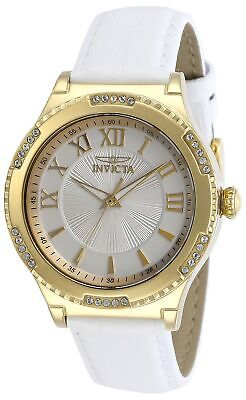 Invicta Women's Angel 28604 38mm Silver Dial Leather Watch