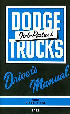 1954 54 Dodge Truck Owner's Manual Models C-1-b6, C-1-c6