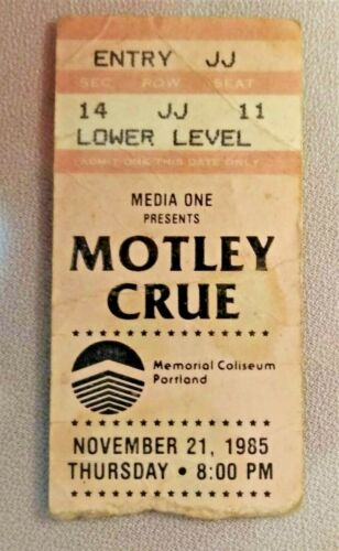 MOTLEY CRUE 1985 THEATRE OF PAIN Tour Used 65% Complete Concert Ticket