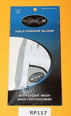 Cool X Half Finger Golf Glove Ladies Regular Medium Left Handed NEW RP117x