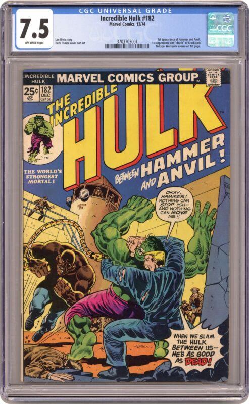 Incredible Hulk #182 CGC 7.5 1974 3703703001