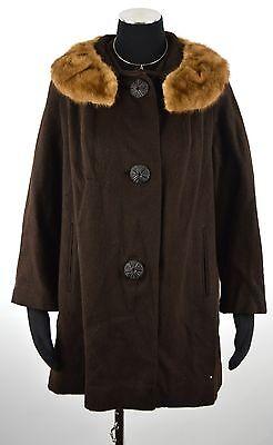 VTG 50s 60s  BROWN WOOL MINK FUR COLLAR CAPE SWING STROLLER COAT JACKET