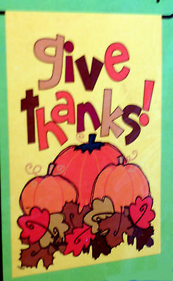 """small """"Give Thanks!"""" Pumpkin Leaf Thanksgiving Garden Flag (12.5"""" x 18"""") 2 sided"""