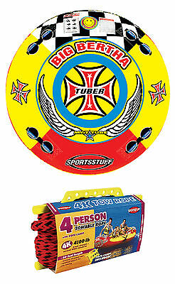 SPORTSSTUFF Big Bertha 53-1329 Towable 1-4 Person Tube + 4,100lb 60ft Tow Rope