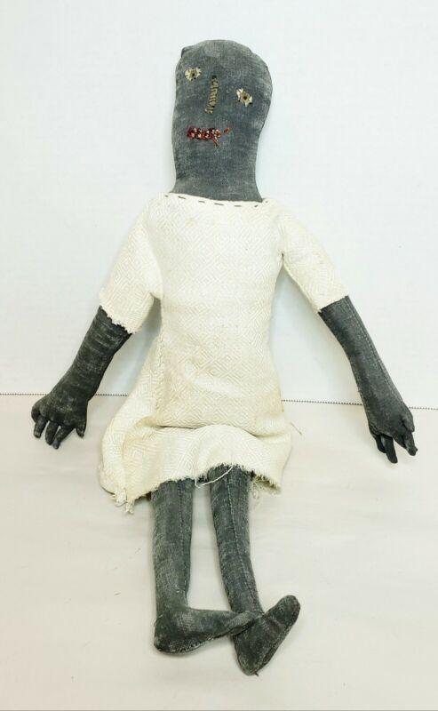 Vintage Tish Bachleda Folk Art Black Americana Primitive Rag Doll Signed 2001