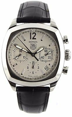 ORIGINAL TAG HEUER MONZA CR2114.FC6164 AUTOMATIC CHRONO BLACK LEATHER MENS WATCH