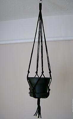New Plant Hanger 36 inches ( 3 feet ) Black 6mm Macrame cord Handmade