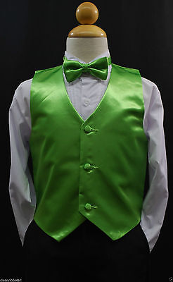 Children Teen LIME GREEN VEST + BOW TIE for Wedding Formal Suits Tuxedo Sz S-28](Lime Green Wedding)