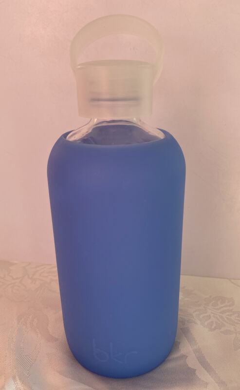 BKR 500 ml Blue silicone Smooth sleeve glass water bottle