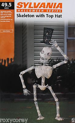 Halloween Sylvania Skeleton with Top Hat 49.5 in H 70 Clear Mini Lights NIB