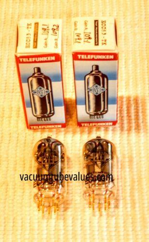 PAIR  Telefunken Elektroakustik FACTORY MATCHED  12AX7 ECC83 Black Diamond NEW