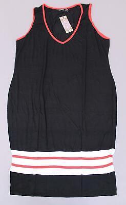 Boohoo Women's Plus Sports Trim Midi Dress KB6 Black Size US:20/UK:24 NWT