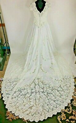 Mori Lee Wedding Gown Cathedral Train White Pearls sequin Flowers Size -