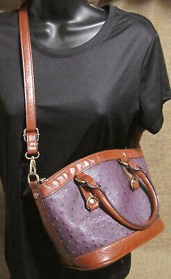 (Faux Leather Purse Ostrich Texture Convertible Cross Body Messenger Satchel)