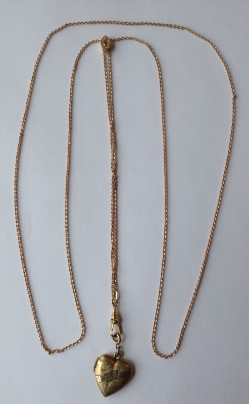 ANTIQUE VICTORIAN GOLD FILLED PEARL WATCH SLIDE & CHAIN WITH LOCKET NECKLACE Q8