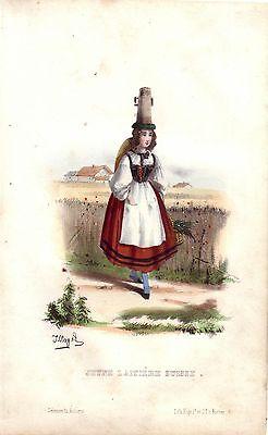 Milchmädchen Schweiz Kostüm Orig Farb Lithographie 1840 J. Vogel - Milch Kostüm