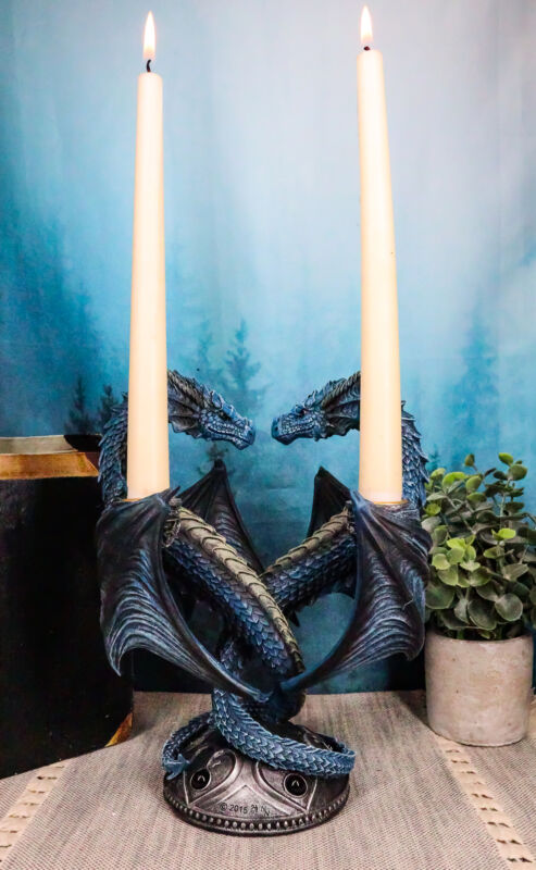 """Dragon Heart Altar Drake Candleabra Candle Holder Twin Dragons Figurine 9""""Tall"""