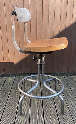 Vintage Industrial Tan-Sad chair /machinist /factory swivel stool 1950's Tansad
