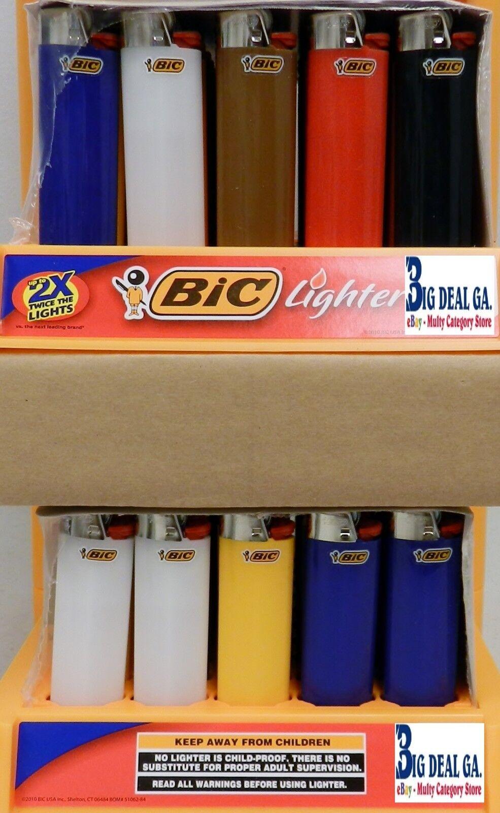 50 Full Size Big BIC LIGHTERS DISPOSABLE BULK WHOLESALE LOT Not Mini Cigarette