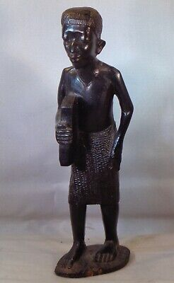 Makonde Hand Carved Male. Student carrying book? 7.5 inches or 19.5cm