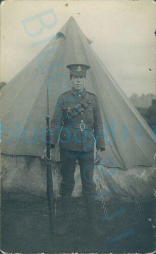 WW1 SWB Brecknockshire Battalion Soldier in Camp with Rifle Studio Photo