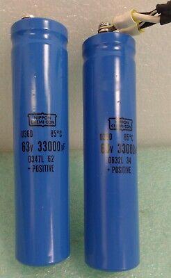 Nippon Chemi-con Aluminum Electrolytic Capacitor Dc 63v 33000uf Lot Of 2 U36d
