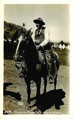 WOLF WYOMING RPPC EATON'S RANCH MAN ON HORSE EATON BROTHER? CIRCA 1918