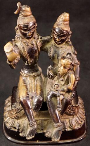 Goddess Gauri Lord Shankar Holding Baby Ganesha Bronze Hindu Sculpture