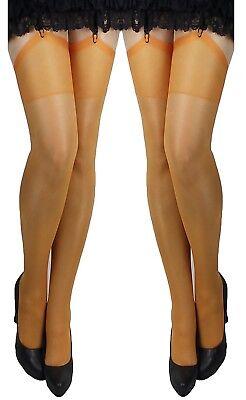 rapsstrümpfe Strümpfe Strapse orange Kostüm Kleid Rock EU (Klassische Paare Kostüme)