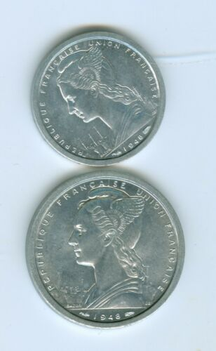 CAMEROON 1948 ONE AND TWO FRANC COINS--UNCIRCULATED