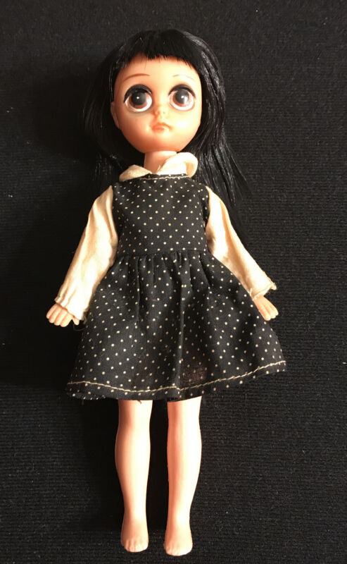 Vintage Susie Sad Eyes Black Hair Doll Black And White Dress With Polkadots
