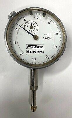 Fowler Bowers 52-548 Dial Indicator 0-.500 Range .0005 Silver Bezel