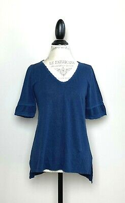 Anthropologie Meadow Rue Blue V Neck Linen T-Shirt Top S NWT